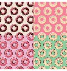 Four seamless patterns with colorful tasty donuts vector image