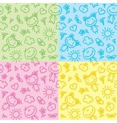 hand drawn kid patterns vector image