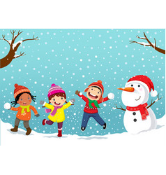 winter fun happy children playing in the snow vector image vector image