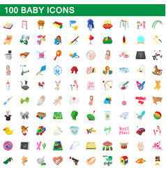 100 baby icons set cartoon style vector image