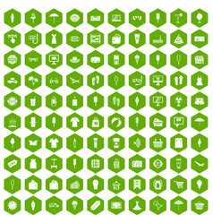 100 summer shopping icons hexagon green vector