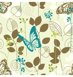 Butterflies and leaves retro seamless pattern vector image vector image