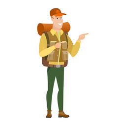 caucasian traveler pointing to the side vector image vector image