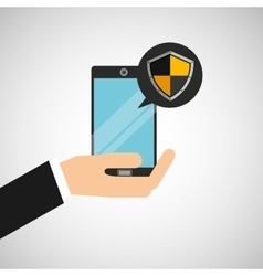 hand holds smartphone padlock protection shield vector image vector image