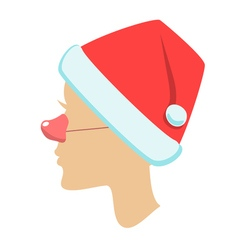 silhouette of female head santa hat vector image