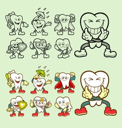 Tooth cartoon icons vector image vector image