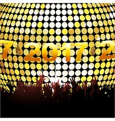 Twenty seventeen glowing lights and crowd vector