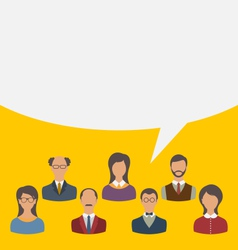 unity of business people team with speech bubble vector image vector image