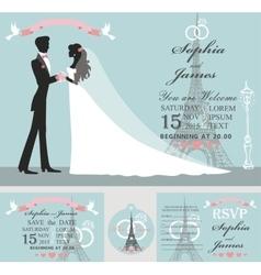 Wedding invitation setBridegroomEiffel tower vector image vector image