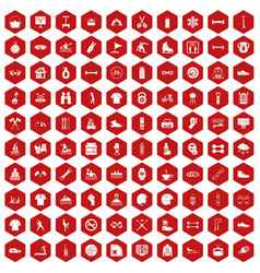 100 sport life icons hexagon red vector image