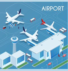 Airport outdoor isometric vector