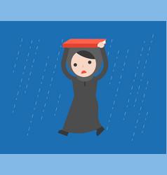 Arab businesswoman walking under the rain flat vector