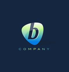 b letter logo oval shape modern design vector image