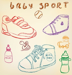 Baby shoes set sketch handdrawn color crayons vector