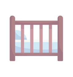 Bashower wooden crib with pillow announce vector