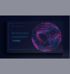 Blockchain cryptocurrency web landing page vector