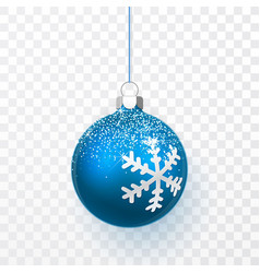 blue christmas ball with snow effect xmas glass vector image