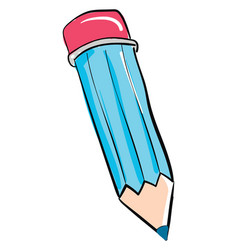 blue pencil on white background vector image