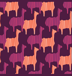 Boho pink purple and orange llama silhouette vector