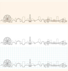 Brisbane hand drawn skyline vector