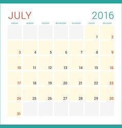 Calendar 2016 Flat Design Template July Week vector