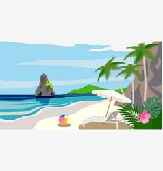 Cartoon style background sea shore vector