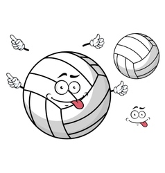 Cartooned volleyball ball with cute face and hands vector