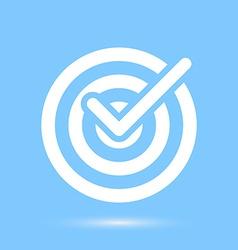 Checkmark white symbol over blue background vector