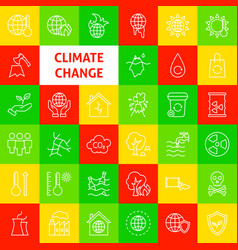 Climate change line icons vector