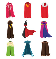 Cloaks party clothing and capes costume set vector