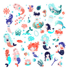 Collection of cute cartoon mermaids with vector