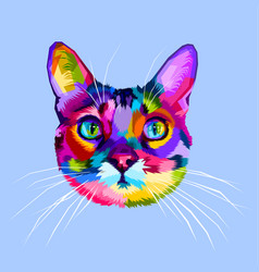 Colorful cat head icon on pop art style vector