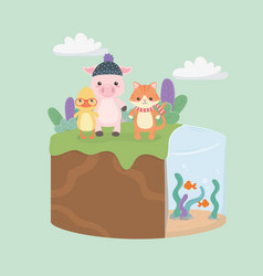cute and little animals in field characters vector image