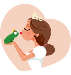 cute princess kissing prince frog vector image