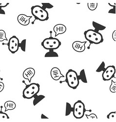 cute robot chatbot icon seamless pattern vector image