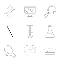 Diagnosis icons set outline style vector image
