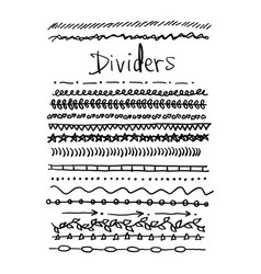 Dividers set sketch hand drawn vector