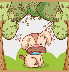 Dog in the park doodle cartoon vector