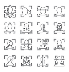 face identification icons set outline style vector image