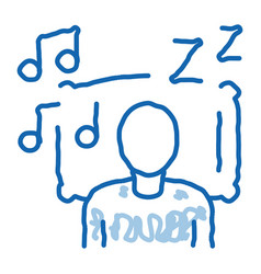 Fall asleep to music doodle icon hand drawn vector
