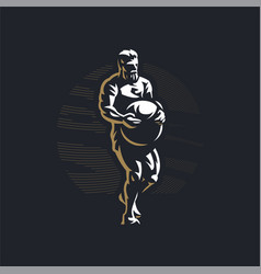 Fitness man with atlas stone vector