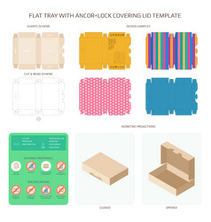 Flat packaging tray with anchor lock lid vector