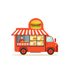 Flat street food van with junk food vector