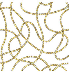 golden chaotic ropes and sea objects seamless vector image