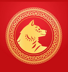 golden dog paper cut in circle frame on red vector image