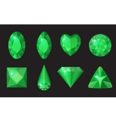 Green gems set Jewelry crystals collection vector