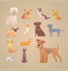 Group of purebred dogs for dog vector