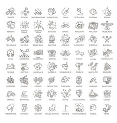 hobbies and interest detailed line icons set vector image