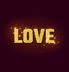 Love golden glow background for valentines day vector