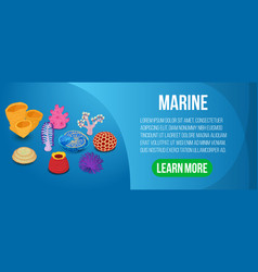 marine concept banner isometric style vector image